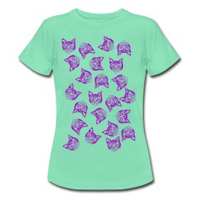 'Magenta Mollys' - Women's T-Shirt produced by Spreadshirt. #cats #cool #magenta #mintgreen #fashion #green #tshirts #girlsfashion #mollycatfinland #cute #coolcats #katz #katzen #caturday #spreadshirt