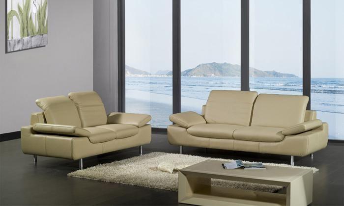 Sectional Sofa Set Top Grain Leather