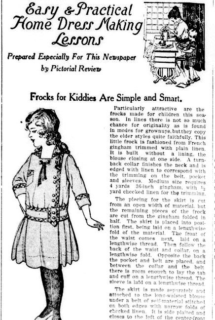 Easy and Practical Home Dress Making Lessons. The full article features a pattern at the bottom. Click through to Chronicling America to see the rest. From The Lakeland evening telegram-April 14, 1916.