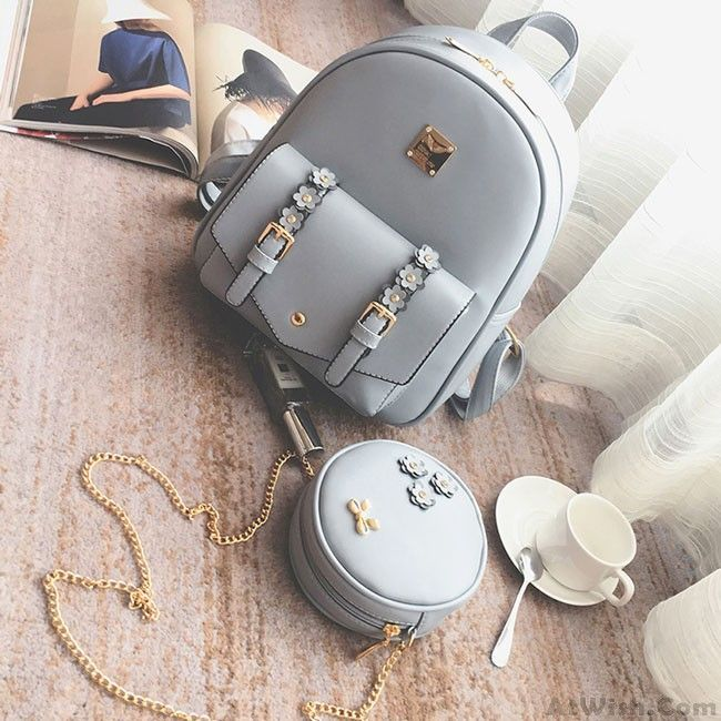Fresh Stereo Flowers Small Bag Gift Circular Mini Shoulder Bag PU Lady Backpack #ShoulderBags