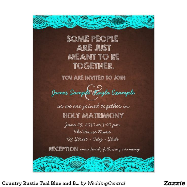 Country Rustic Teal Blue and Brown Wedding 4.25x5.5 Paper Invitation Card