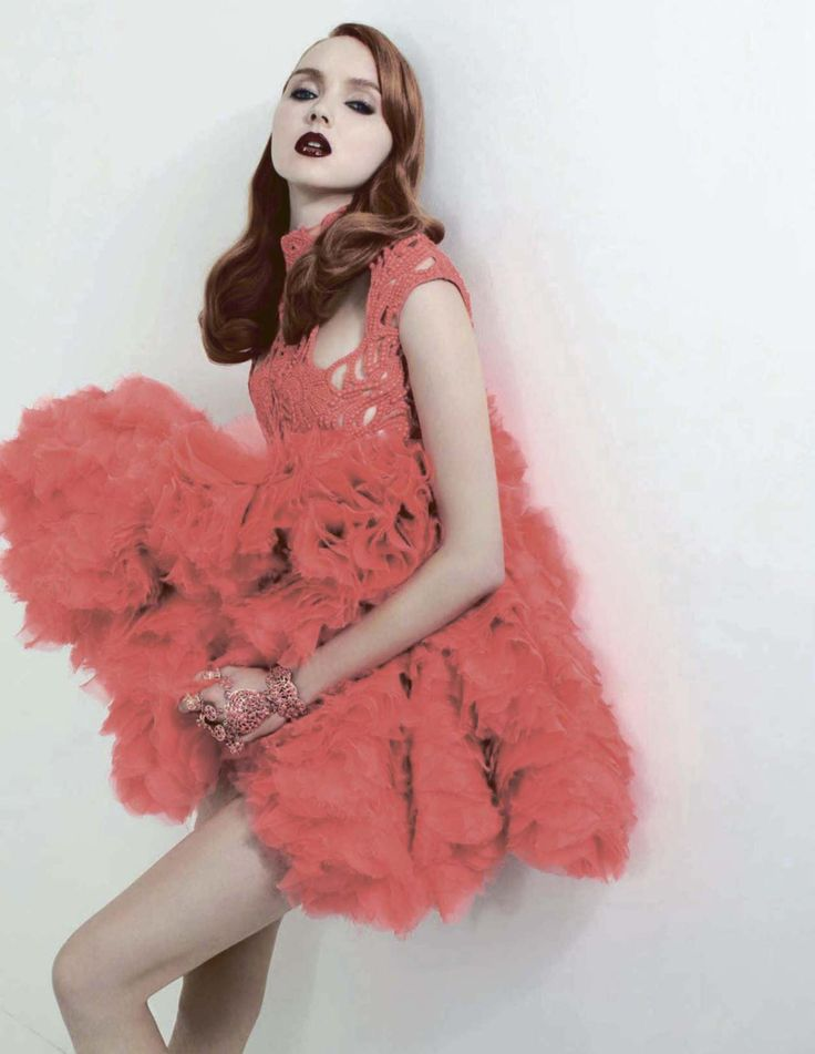Bouquet de Lili, Lily Cole by Anthony Maule for Vogue Russia, January 2012