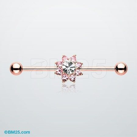 Rose Gold Luscious Flower Industrial Barbell