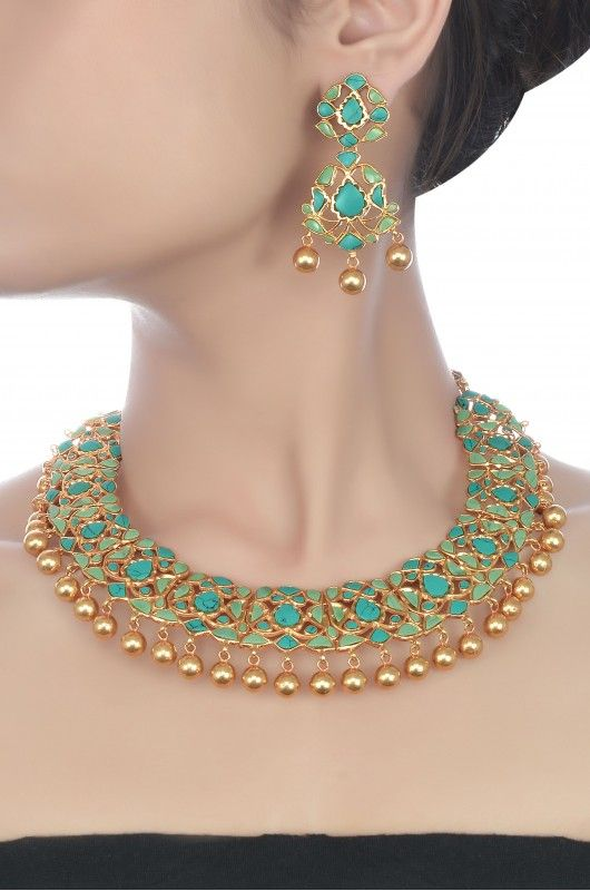 Silver Floral Turquoise Necklace Set