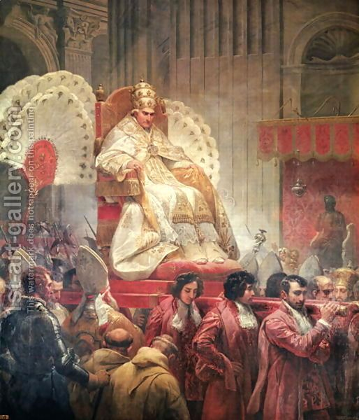 Pope Pius VIII 1761-1830 in St. Peters on the Sedia Gestatoria, 1829 by Horace Vernet
