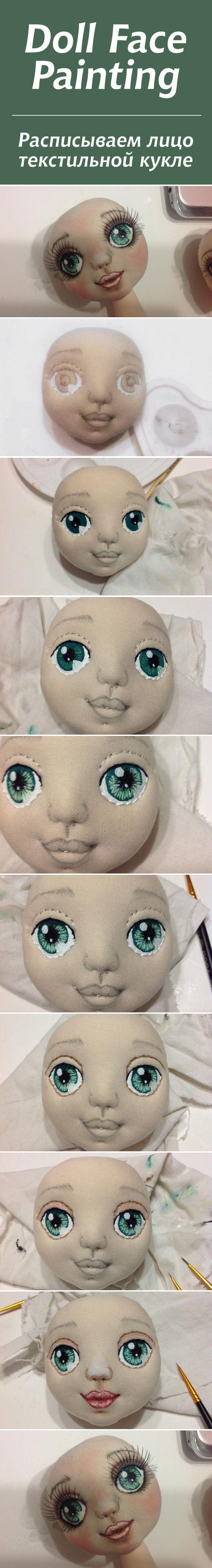 Роспись лица текстильной куклы: