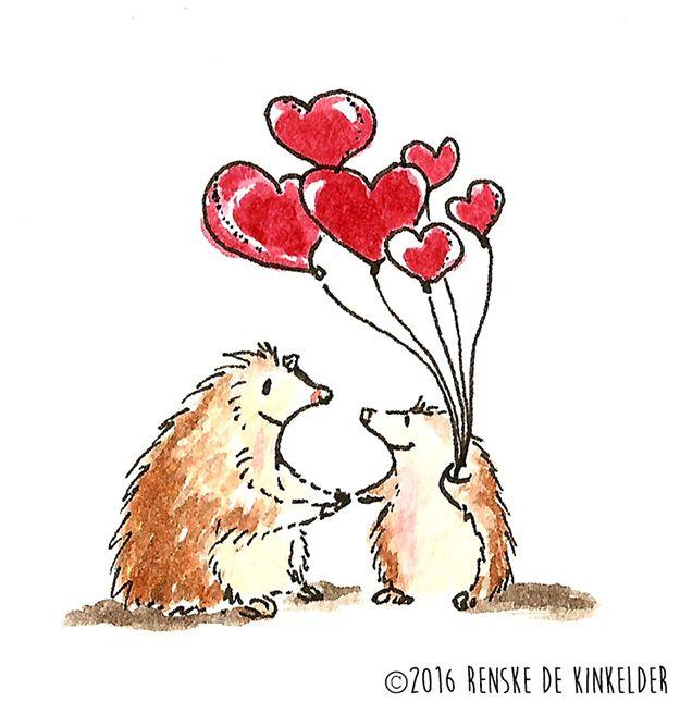 Hedgehogs with Hearts. Watercolor and micron pen. Renske de Kinkelder