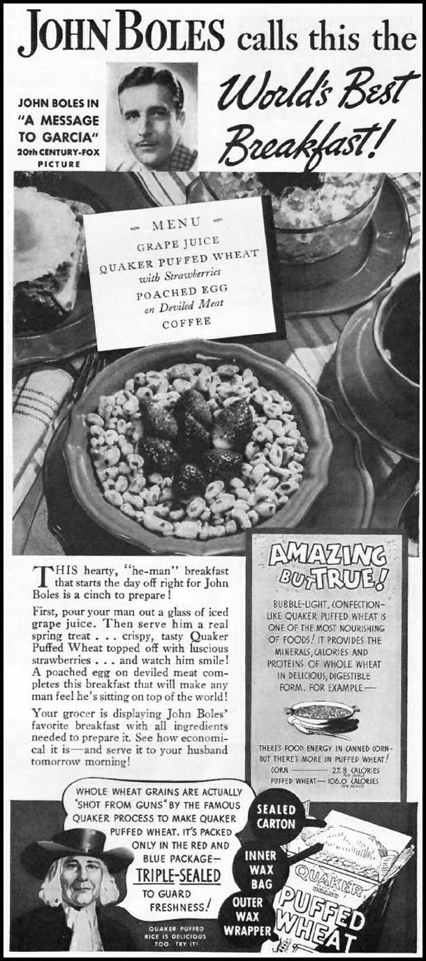 17 best images about retro breakfast foods women quaker puffed wheat ceral better homes gardens 1936