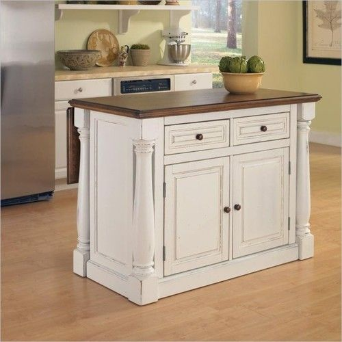 Kitchen Island Cart With Breakfast Bar In White Distressed Finish | EBay  Http://