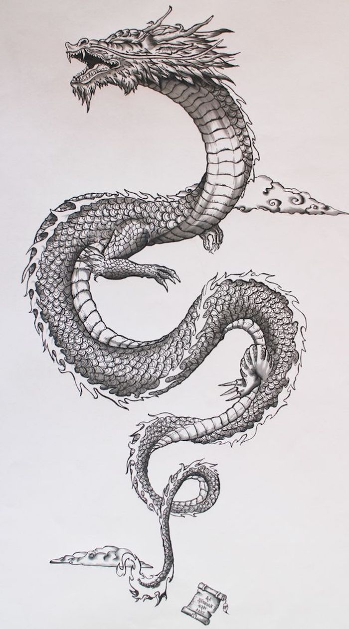Japanese dragon in the sky, small clouds, symbol of bravery