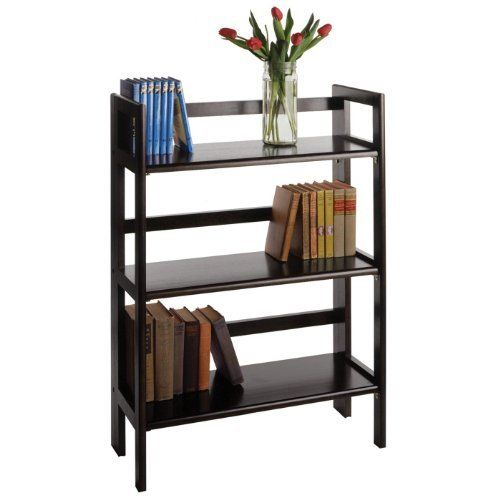 3-Tier Folding and Stackable shelf by Winsome. $67.72. Assembly Required Yes. Height 38.5. Width 11.5. Length 27.8. Style Transitional. This folding shelf comes in three different finishes to match any space. Double stack this shelf to create a wall unit. Use it in the bathroom for your towels, in the kids room for their stuff toys or in an office for books or files. Made of Solid beech wood.Color BlackFinished Dark Wood