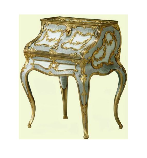 Miniature desk 1896-1908 by Carl Fabergé,   neo-rococo design     The Royal Collection © 2011, Her Majesty Queen Elizabeth II