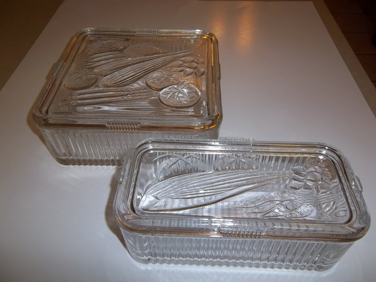 Set 2 Vintage 1930 S Federal Glass Vegetable Embossed