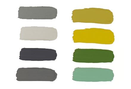 vtwonen basis-kleurtype test -->  grijs-kleurpalet | Kleuren beeld (van linksboven naar rechtsonder):  vtwonen ash grey, vtwonen light grey, vtwonen off black, vtwonen mud grey, Flexa Pure real olive, Flexa Pure real mustard, Flexa Pure full jade, Flexa Pure mild river.  | Materiaal: beton, metaal, hout, gecombineerd met wol, linnen, katoen en stoer denim.
