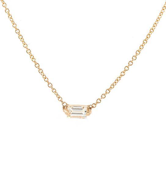 Floating Baguette Diamond Necklace
