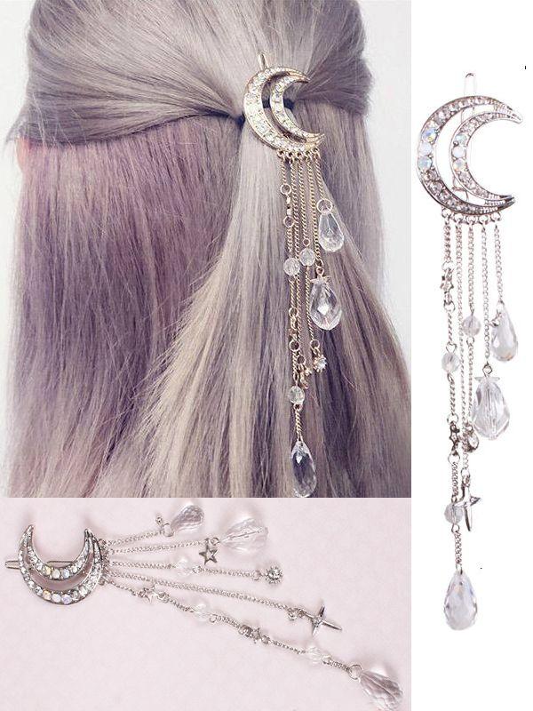 Moon Crystal Tassels Hair Clips