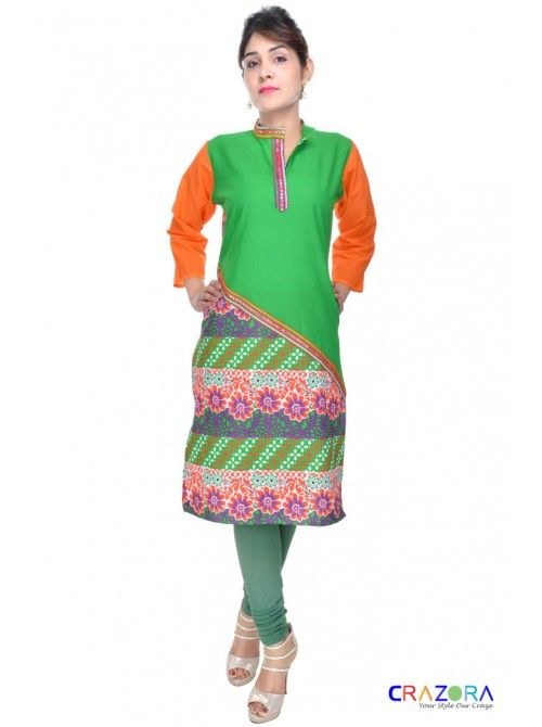 Designer Kurtis Only At Rs.299  https://www.crazora.com/kurtis/glamus-green-cotton-kurti-9941.html