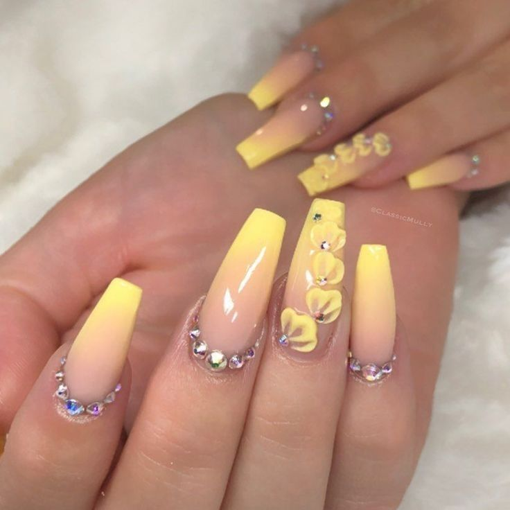 90 Long Acrylic Nails Design Ideas June 2020 In 2020 Nails Design With Rhinestones Best Acrylic Nails Yellow Nails Design