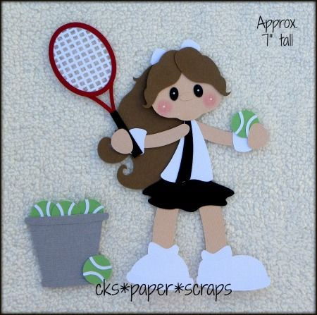 Tennis Match Girl Scrapbook Embellishment Paper Piecing