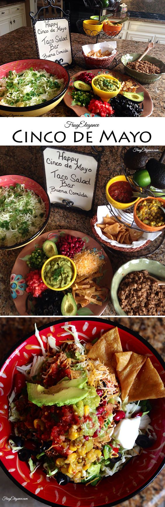 Healthy Taco Salad~make a salad bar for your family with ground turkey and healthy options for a tasty salad. I also enjoy Traders Joes lowfat cilantro dressing #tacosalad  #cincodemayo  #salad