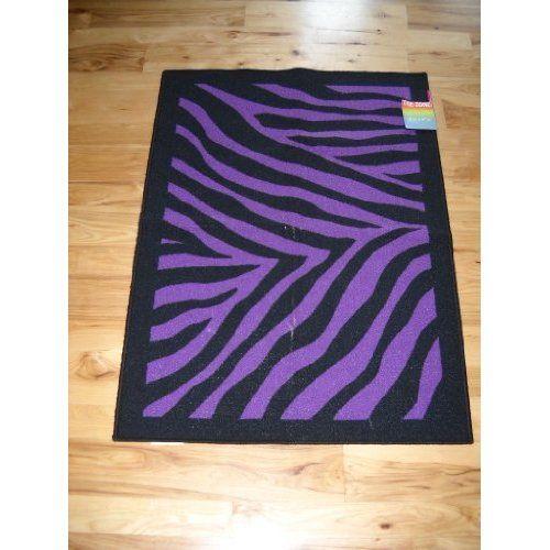Animal Print Throw Rug: Decor Black Purple Zebra Stripe Throw Rug Teen Room: Home