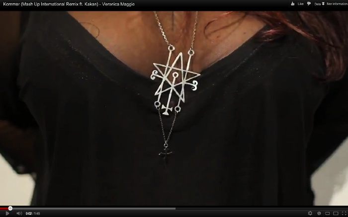"Kakan is wearing the Astaroth necklace by Anna Tascha in the ""Kommer"" music video by Mash Up International, Veronica Maggio and Kakan. Watch the video!"