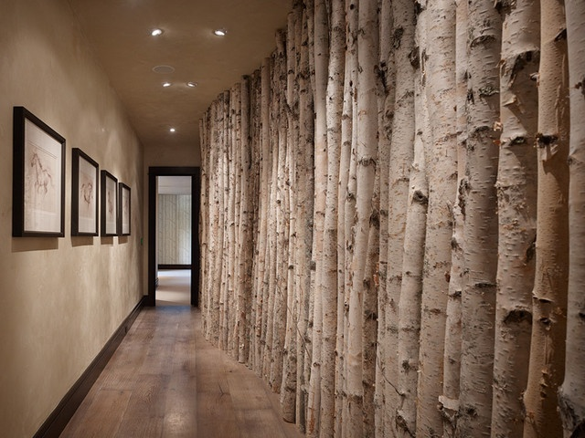 Birch wall decor, real tree trunks. What if we did this in the hallway leading to the master?!?!