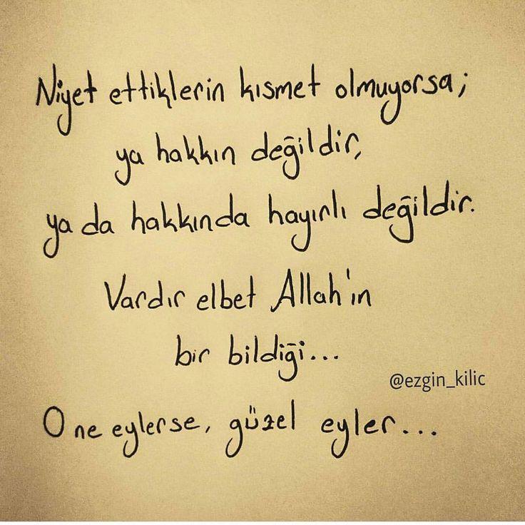 Niyet ettiklerin kısmet olmuyorsa; ya hakkın değildir, ya da hakkında hayırlı değildir. Vardır elbet Allah'ın bir bildiği... O ne eylerse, güzel eyler...(Kaynak: Instagram - ezgin_kilic) #sözler #anlamlısözler #güzelsözler #manalısözler #özlüsözler #alıntı #alıntılar #alıntıdır #alıntısözler #şiir #edebiyat
