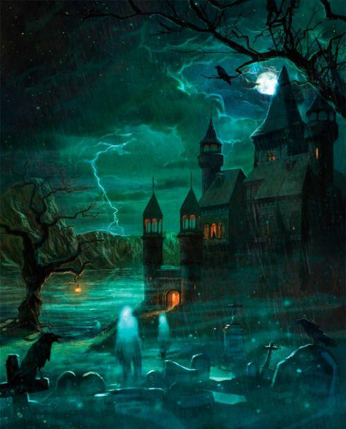 A Dork Stranger: Haunted Houses, Spooky, Hallows Eve, Ghosts, Horror, Halloween Art