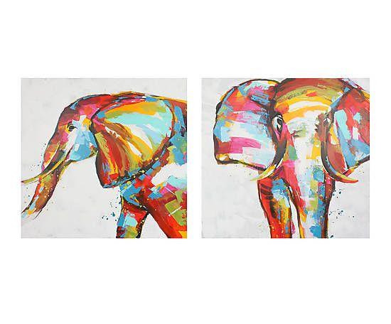 Set de 2 cuadros pintados a mano Elefantes