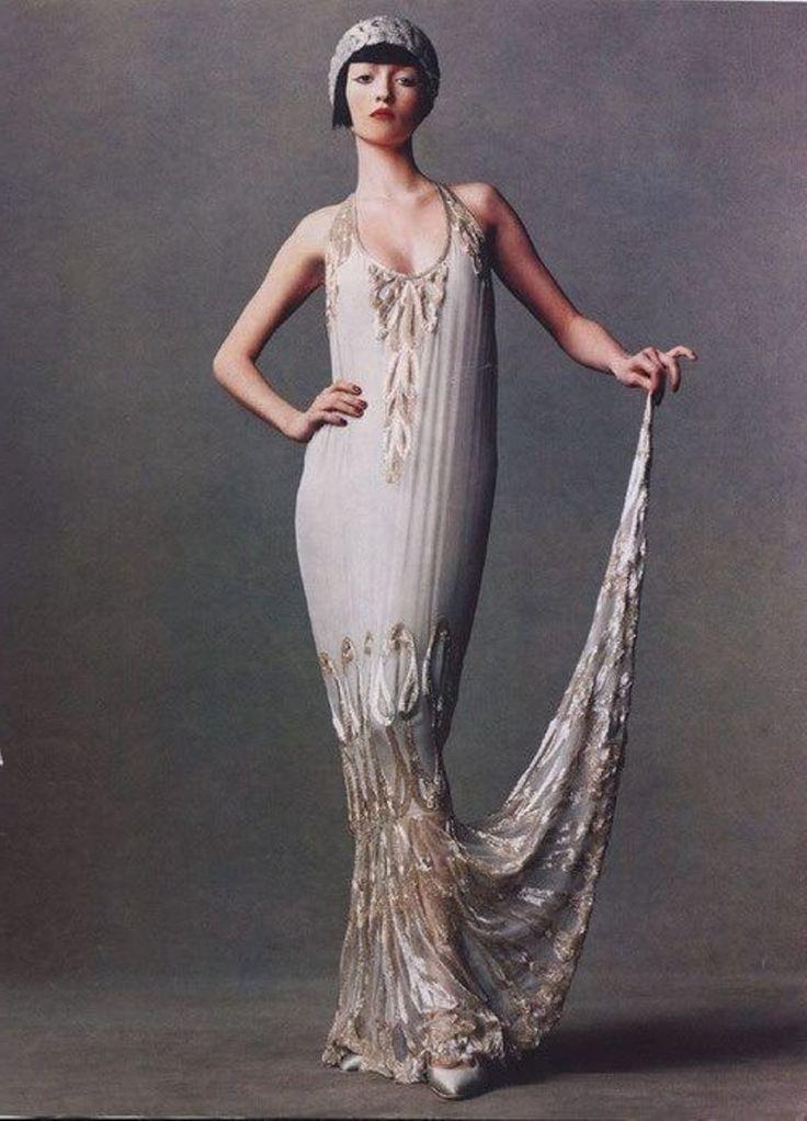White flapper wedding dress
