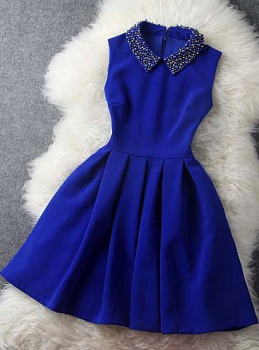 Blue dress with beaded collar