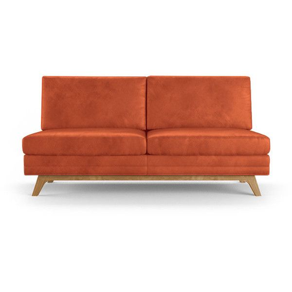 Calhoun Mid Century Modern Orange Leather Armless Loveseat ($3,399) ❤ Liked  On Polyvore Featuring