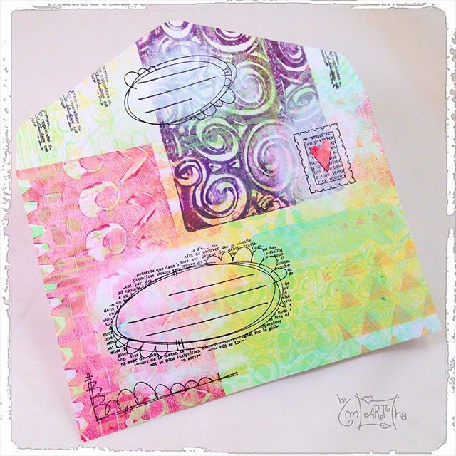 ..mail art first attempt #gelliplate #gelliprints #gelliarts #carabellestudio