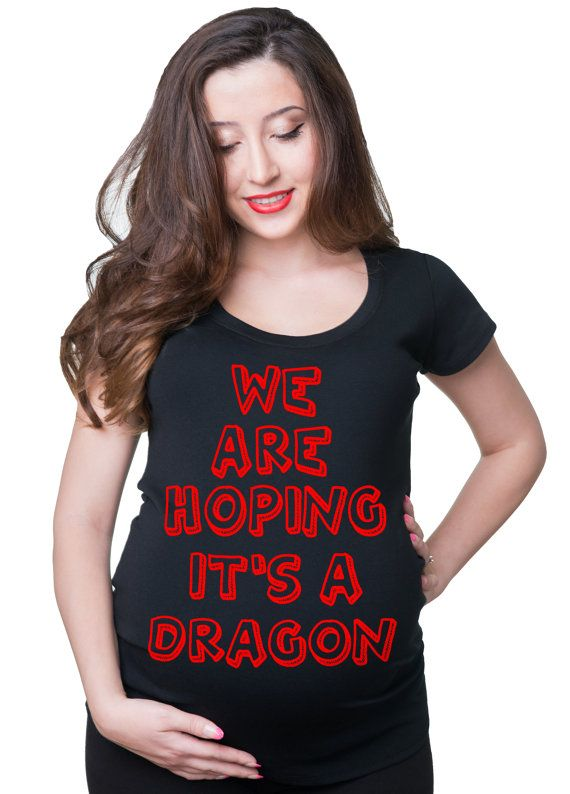 We Are Hoping It's A Dragon Maternity Tee Funny by maternitytees