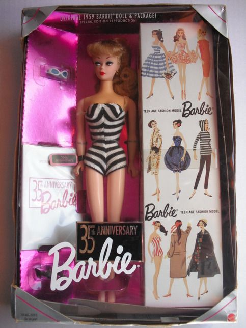 Original 1959 Barbie Doll & Package Special Edition Reproduction. a great edition to your collection.  Package shows some wear. Thank you so much for visiting my store.