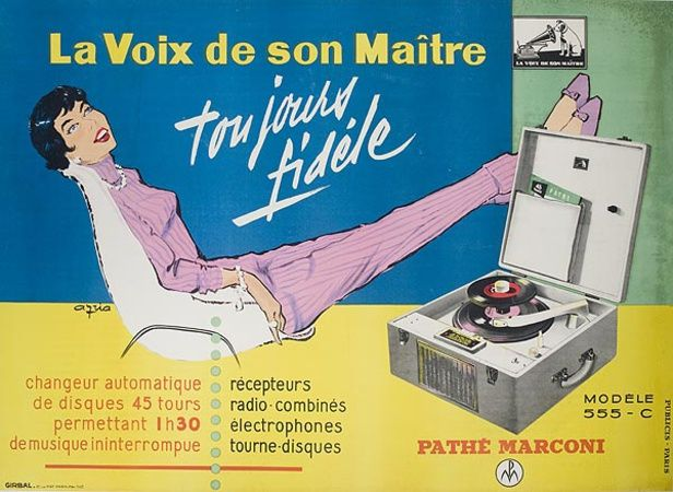path marconi la voix de son ma tre ann es 60 pub vintage radio t l vision. Black Bedroom Furniture Sets. Home Design Ideas