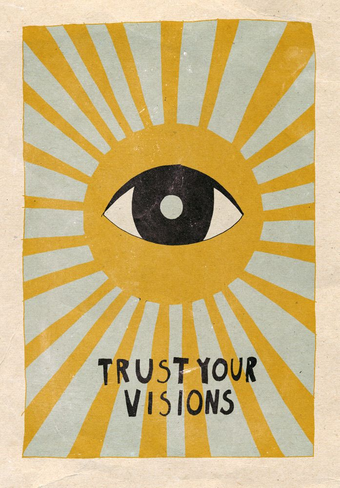 Trust Your Visions Mini Art Print By Asja Boros Without Stand 3 X 4 In 2020 Whimsical Illustration Prints Illustration