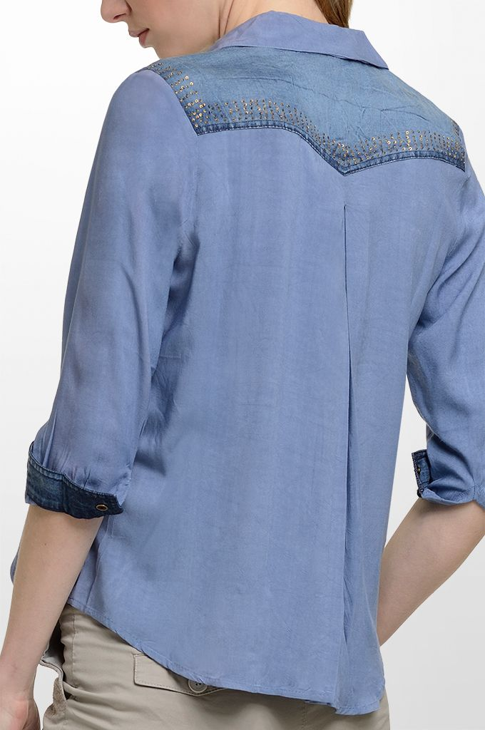 Sarah Lawrence - long sleeve shirt with embroidery, cropped pant with embroidery.