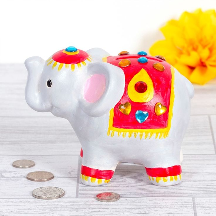 Diwali Elephant Coin Bank | Free Craft Ideas | Baker Ross  Create a lovely colourful Diwali elephant coin bank to keep your pocket money in.