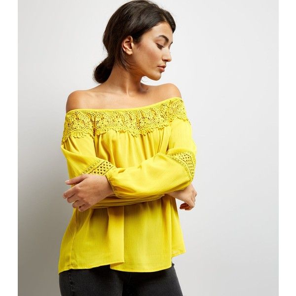 New Look Yellow Crochet Trim Bardot Top (£23) ❤ liked on Polyvore featuring tops, soft yellow, crochet tops, yellow top, yellow crochet top, macrame top and new look tops