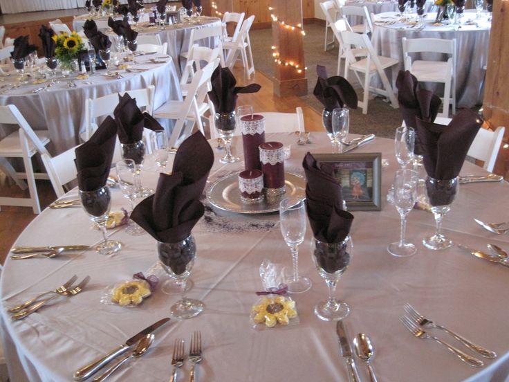 Silver Satin Floor Length Tablecloths With Eggplant Napkins