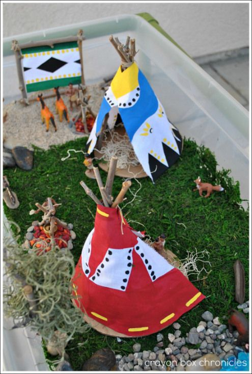 D.I.Y Tepees and Native American Small World PLay @ Crayon Box Chronicles ≈≈