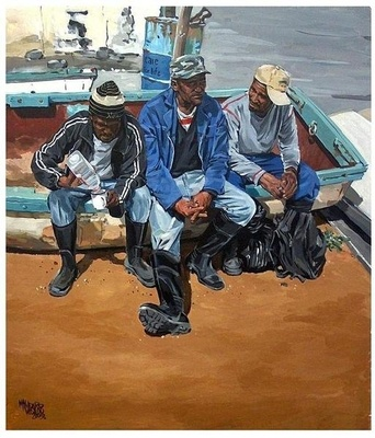 The fishermen from Hondeklip Bay - | Mynderd Vosloo | Painters Online