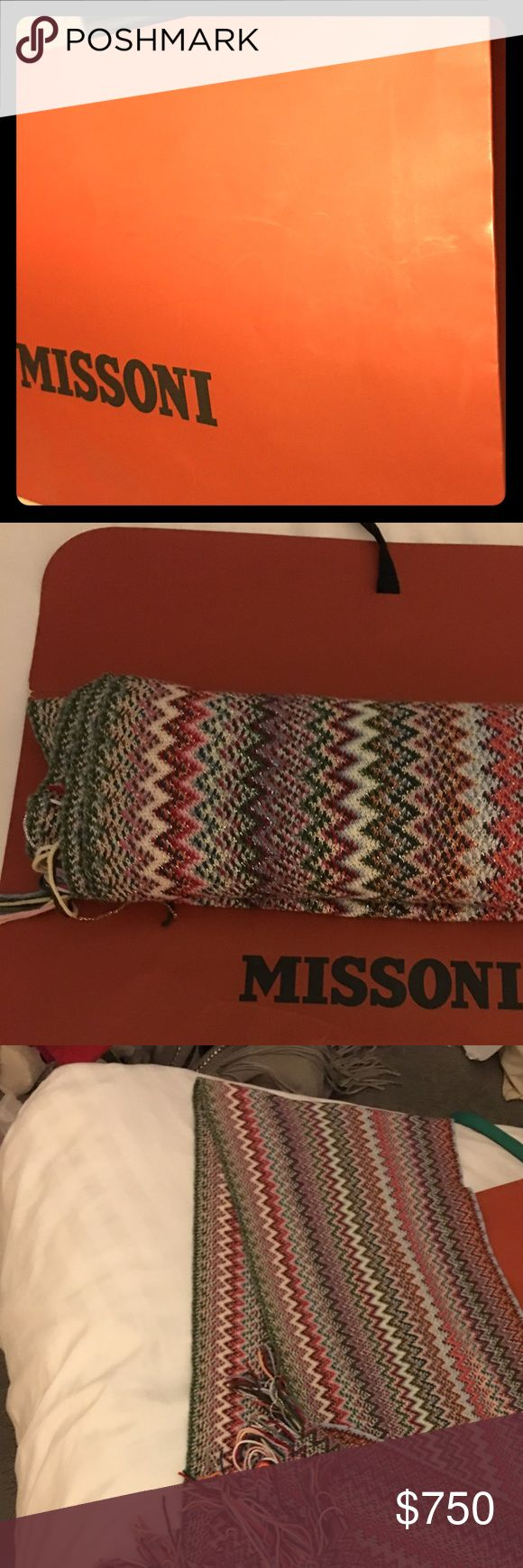 💯Authentic Missoni Scarf straight from Italy This beautiful scarf is to die for. Barely used. I was on my honeymoon. I got married at Venice, Italy and we went to Milan. This scarf is in pristine condition. No smell, pets whatsoever. It really helps to keep you warm in cold weather. It's luxurious, long, thick and gorgeous. Missoni Accessories Scarves & Wraps