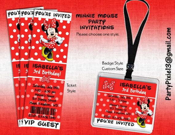 Disney Minnie Mouse Party Invitations Ticket Style Or Badge Style