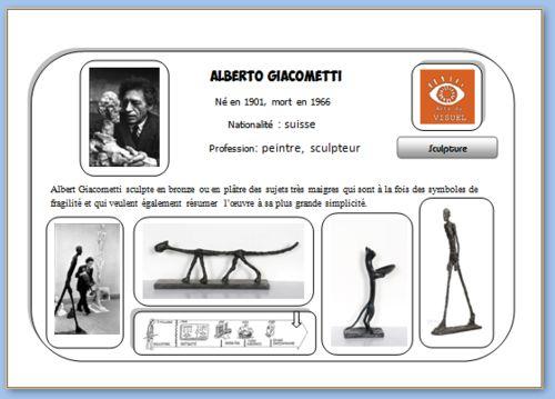 Carte d'identité en Histoire des arts sur Giacometti.