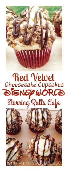 A copycat recipe of the Red Velvet Cheesecake Cupcake from Disney World's Starring Rolls Cafe. Decadent, moist red velvet cupcakes,  with cheesecake, topped with fluffy vanilla buttercream, toffee bits and drizzled with melted chocolate.