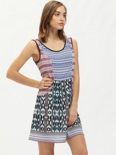 Multicolore dell'annata della stampa tasche Vestito a trapezio