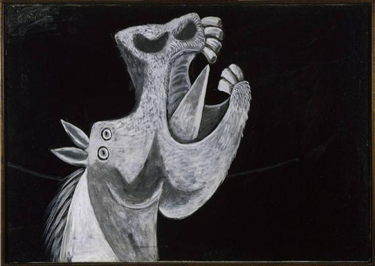 """Pablo Picasso (Malaga 1881-Mougins 1973)  Testa di cavallo. Schizzo per """"Guernica"""" 2 maggio 1937, olio su tela, cm 65 x 92. Collezione del Museo Nacional Centro de Arte Reina Sofía, Madrid, Legato Picasso,1981, DE00119"""